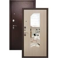 Дверь металлическая Страж с зеркалом (беленый дуб)